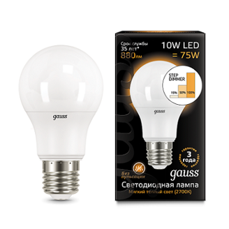 Лампа Gauss LED A60 10W E27 2700K step dimmable
