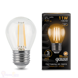 Лампа Gauss LED Filament Шар E27 11W 720lm 2700K 105802111