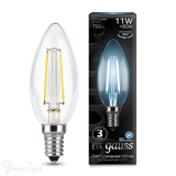 Лампа Gauss LED Filament Свеча E14 11W 720lm 4100К 103801211