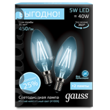 Комплект Gauss LED Filament Candle E14 5W 4100K