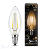 Лампа Gauss LED Filament Свеча E14 11W 720lm 2700К 103801111