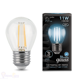 Лампа Gauss LED Filament Шар E27 11W 750lm 4100K 105802211