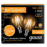 Комплект Gauss LED Filament Globe E14 5W 2700K