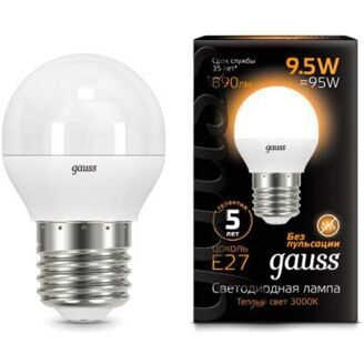 Лампа Gauss LED Globe E27 9.5W 3000K 105102110