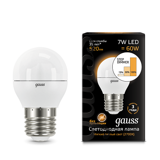 Лампа светодиодная Gauss LED Globe E27 7W 2700K step dimmable 105102107-S