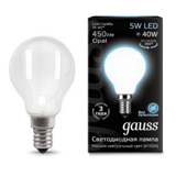 Светодиодная лампа Gauss LED Filament Globe OPAL E14 5W 4100K 105201205