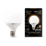 Лампа Gauss LED G95 E27 16W 3000K 1/24 105102116