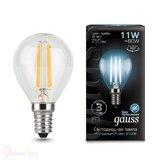 Лампа Gauss LED Filament Шар E14 11W 750lm 4100K 105801211