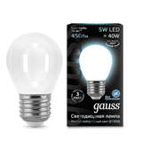 Светодиодная лампа Gauss LED Filament Globe OPAL E27 5W 4100K 105202205