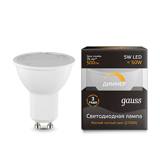 Лампа Gauss LED MR16 GU10-dim 5W 500lm 3000K  диммируемая 101506105-D