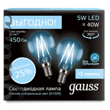 Комплект Gauss LED Filament Globe E14 5W 4100K
